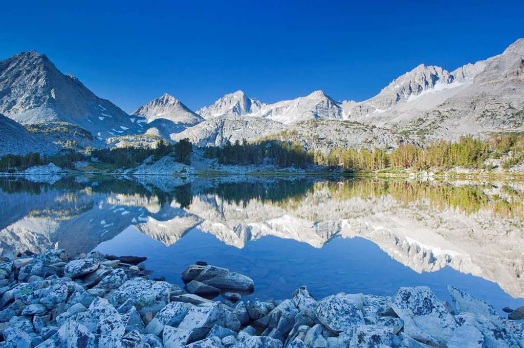 Stock Photo: 1760-12370 California, Bishop, Little Lakes Valley, Beautiful sunrise scene in the Eastern Sierras
