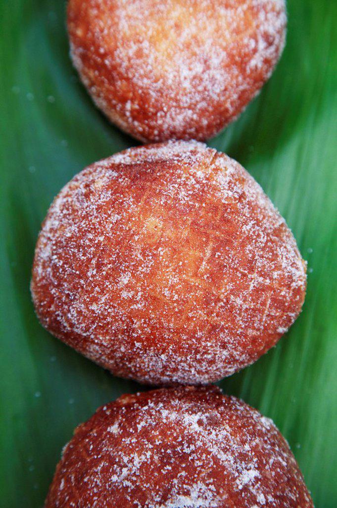 Hawaii, Oahu, Delicious sugared Malasadas, local delicacy. : Stock Photo