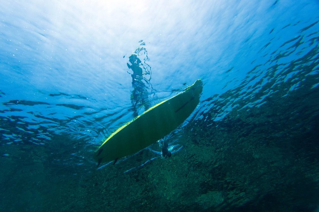 Stock Photo: 1760-12900 Hawaii, Maui, Makena, Stand up paddle surfer, view form under water