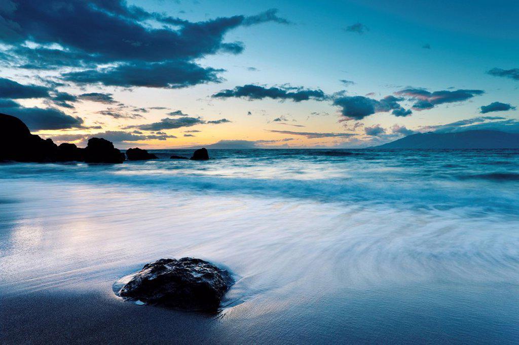 Hawaii, Maui, Makena, Twilight at Black Sand Beach : Stock Photo