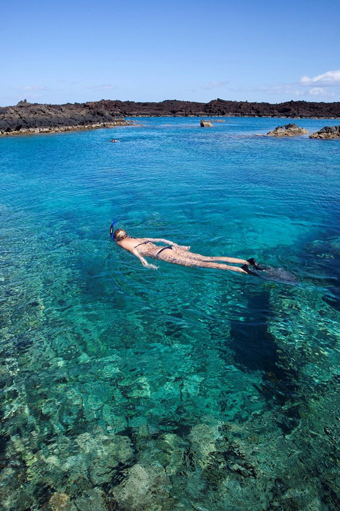 Hawaii, Maui, Laperouse Bay, Woman snorkeling in shallow clear water over coral reef : Stock Photo