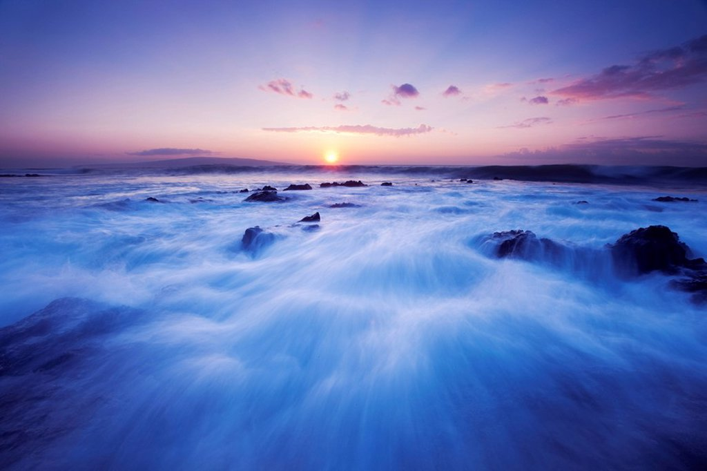 Stock Photo: 1760-13137 Hawaii, Maui, Makena, Dramatic vibrant sunset, ocean rushing over rocks