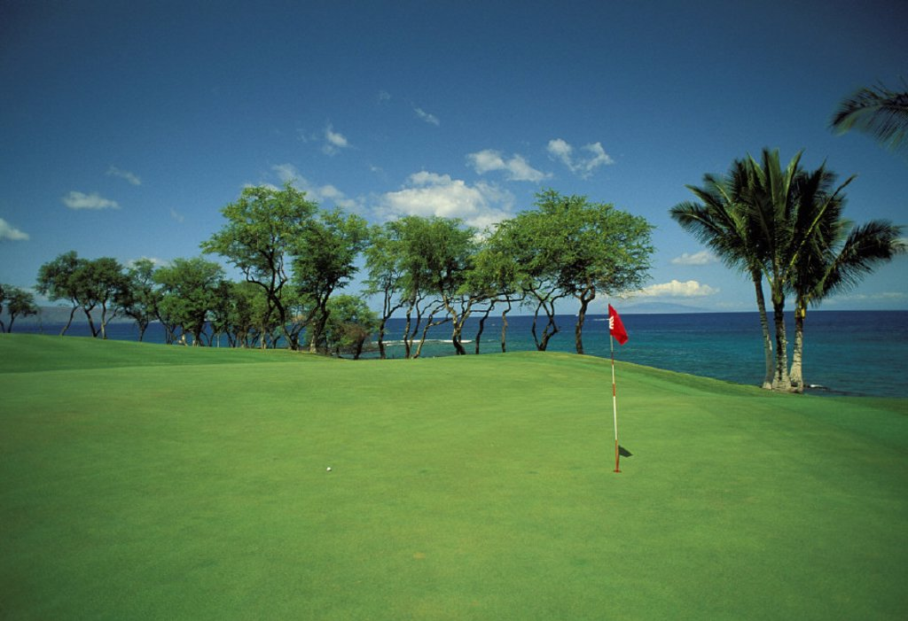 Hawaii, Maui, Out on the green at Makena Golf Club : Stock Photo