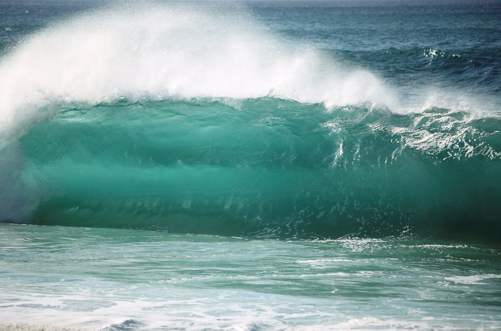 Stock Photo: 1760-13448 Hawaii, Oahu, Wave beginning to curl.