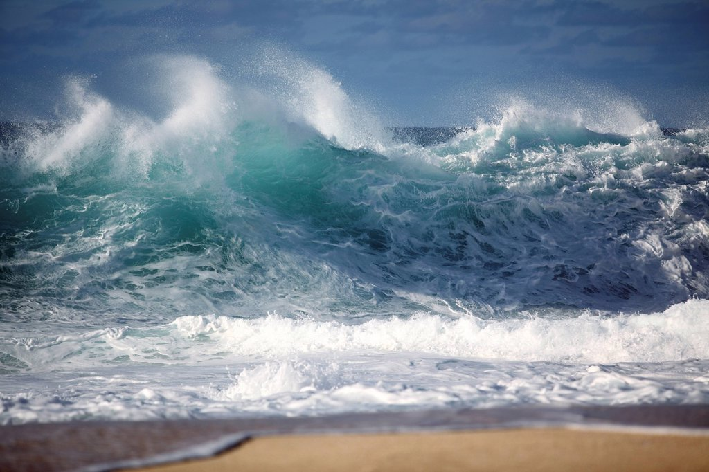 Hawaii, Oahu, Ocean wave breaking on shore. : Stock Photo