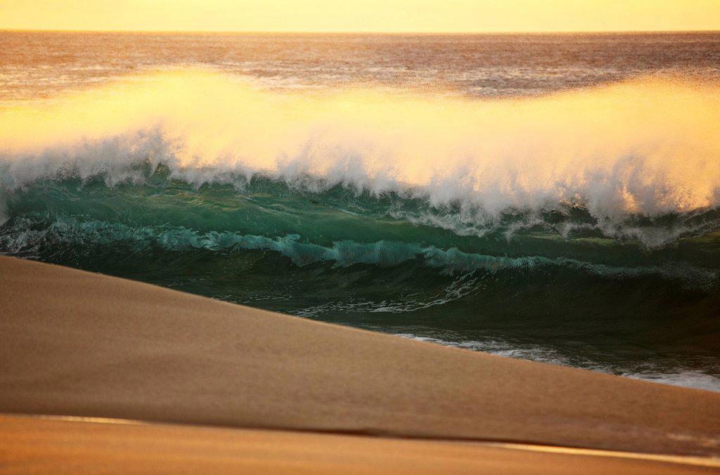 Stock Photo: 1760-13451 Hawaii, Oahu, North Shore, Sunset light illuminating ocean wave along beach.