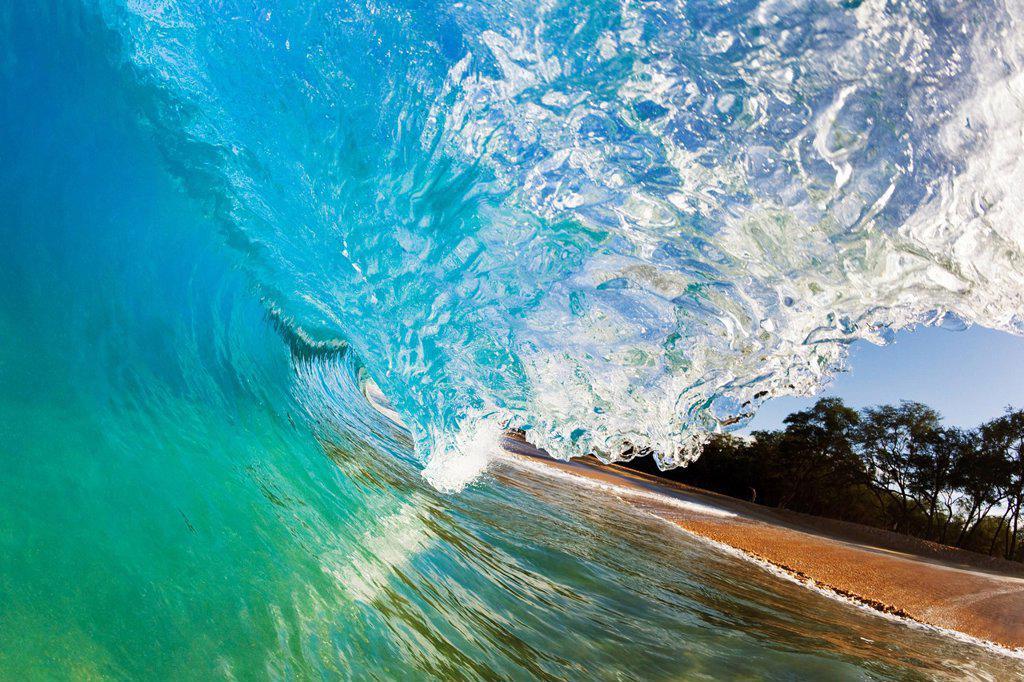 Stock Photo: 1760-13455 Hawaii, Maui, Makena Beach, Beautiful wave breaking along shore.