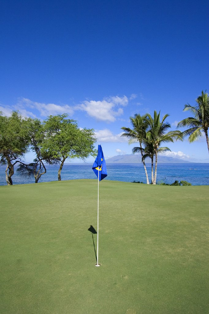 Stock Photo: 1760-1399 Hawaii, Maui, Makena South Golf Course, hole #16, putting green next to the ocean.
