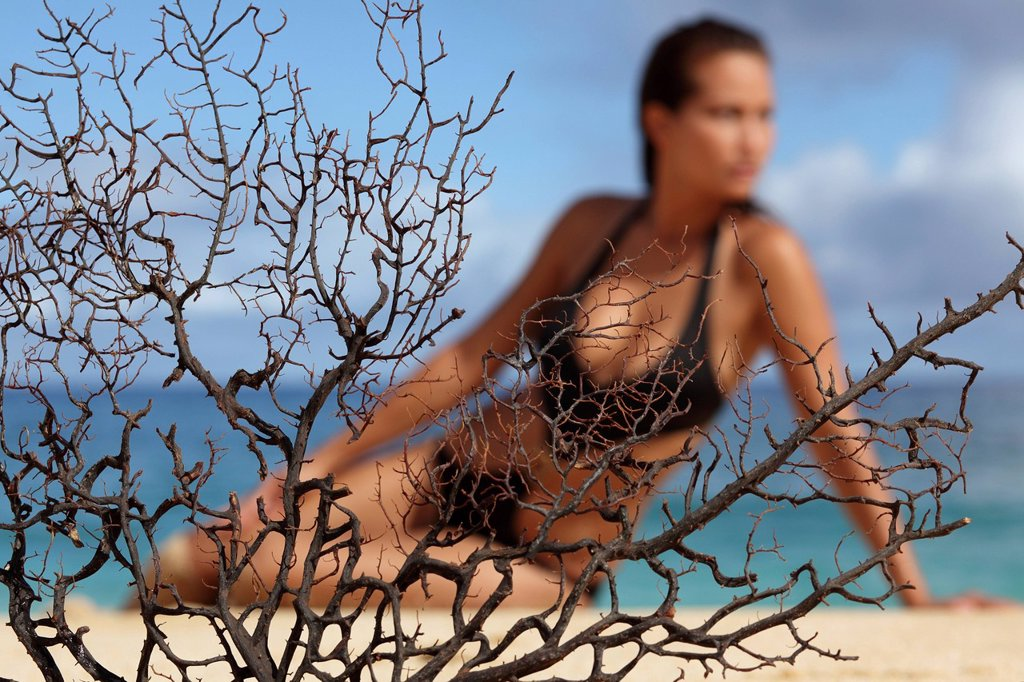 Hawaii, Woman on beach behind dried coral branch, Selective focus on coral. : Stock Photo