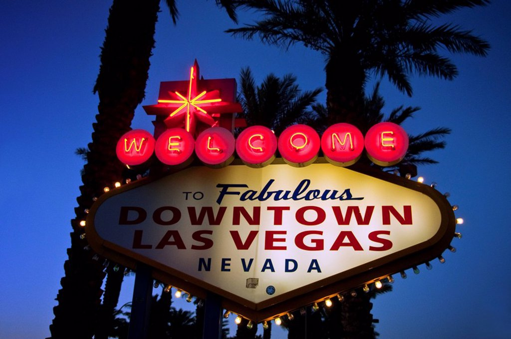 Nevada, Las Vegas, Welcome to the Fabulous Downtown Las Vegas Nevada sign. : Stock Photo