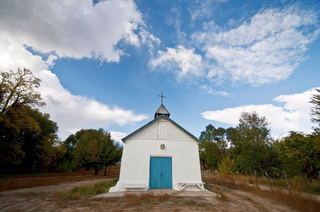 New Mexico, Santa Cruz church _ about five miles west of Chimayo. Editorial Use Only. : Stock Photo