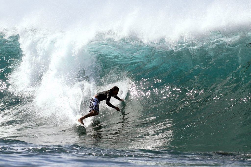 Stock Photo: 1760-15100 Hawaii, Oahu, North Shore, Afternoon surfing on large waves.
