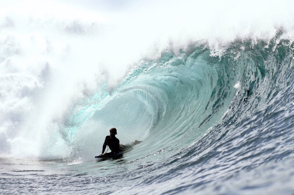 Stock Photo: 1760-15101 Hawaii, Oahu, North Shore, Afternoon surfing on large waves.