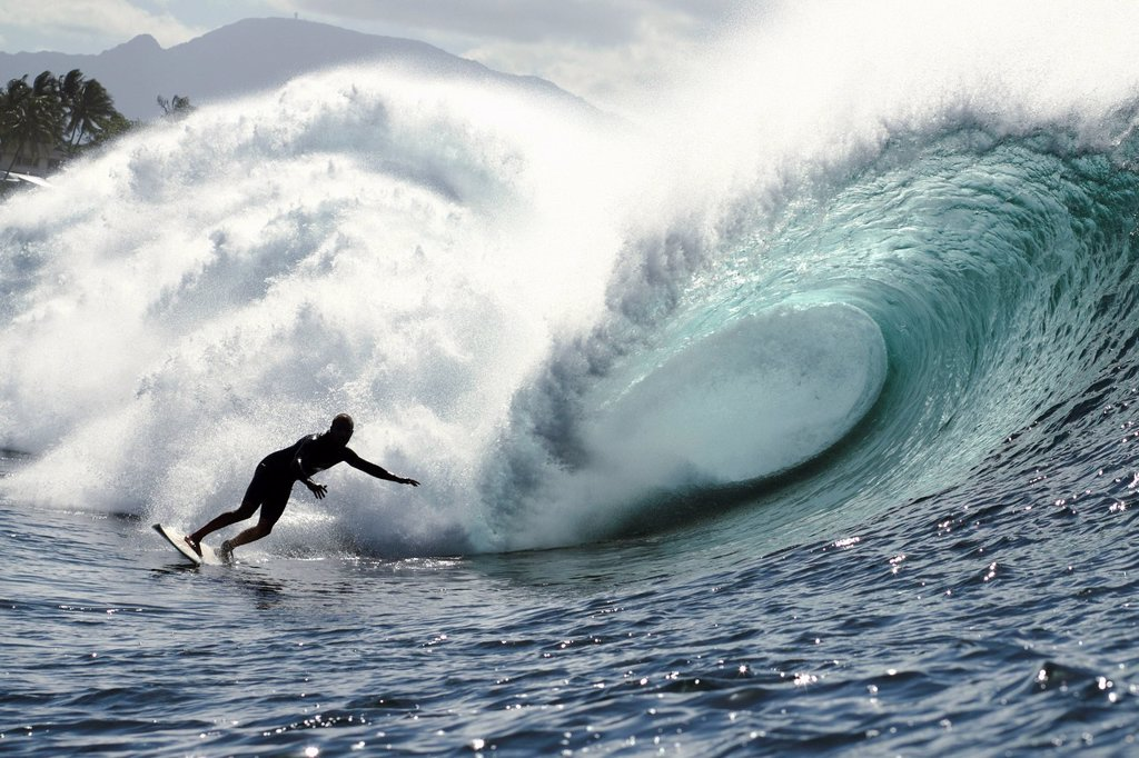 Hawaii, Oahu, North Shore, Afternoon surfing on large waves. : Stock Photo