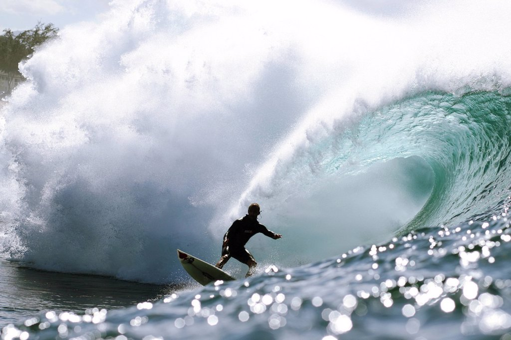 Stock Photo: 1760-15105 Hawaii, Oahu, North Shore, Afternoon surfing on large waves.