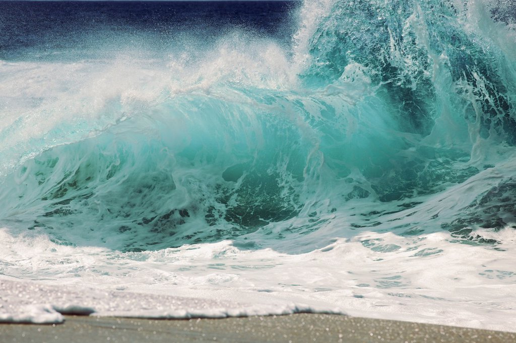 Stock Photo: 1760-15140 Hawaii, Oahu, Large crashing wave on the North Shore.