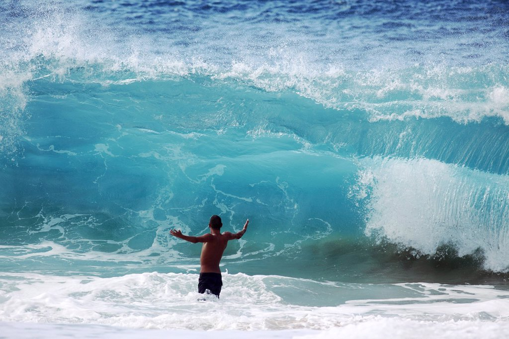 Stock Photo: 1760-15143 Hawaii, Oahu, North Shore, Man is about to be crushed by giant wave.