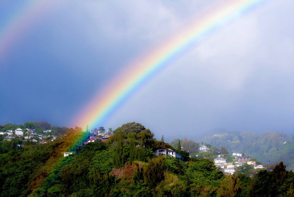Stock Photo: 1760-15153 Hawaii, Oahu, Double rainbow in Pacific Heights nieghborhood.EDITORIAL USE ONLY