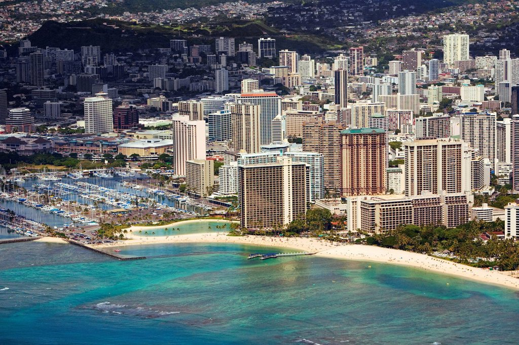 Hawaii, Oahu, Honolulu, Aerial of Waikiki Hotels and Ala Wai Yacht Harbor. : Stock Photo