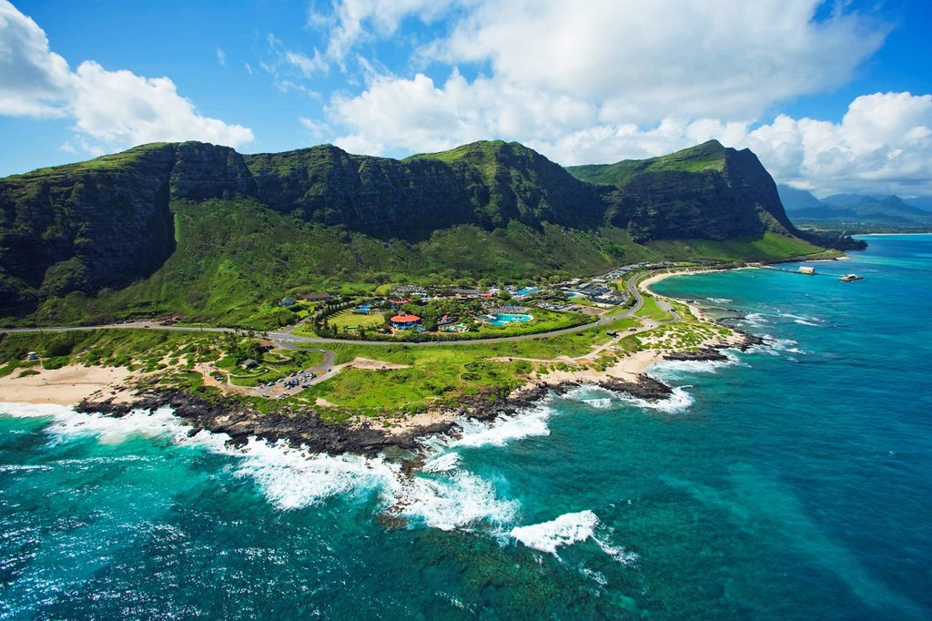 Stock Photo: 1760-15289 Hawaii, Oahu, Aerial of Sea Life Park.