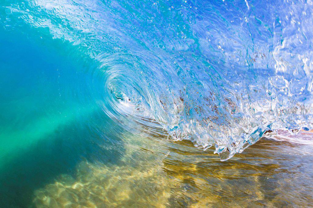 Stock Photo: 1760-15634 Hawaii, Maui, Makena Beach, Beautiful wave breaking along shore.