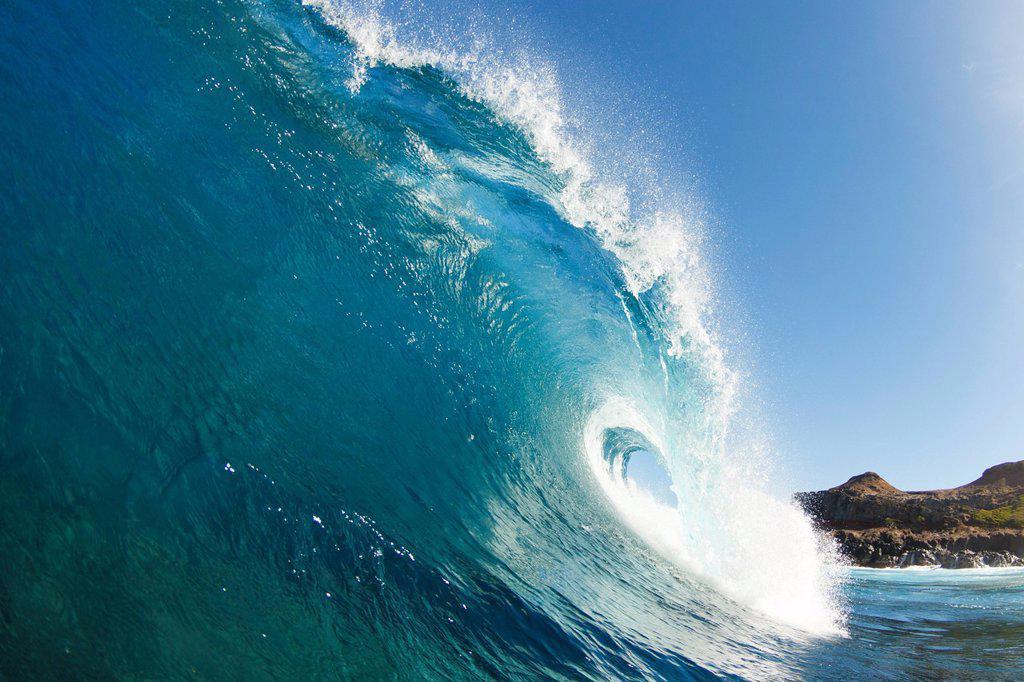 Stock Photo: 1760-15637 Hawaii, Maui, Makena Beach, Beautiful wave breaking along shore.