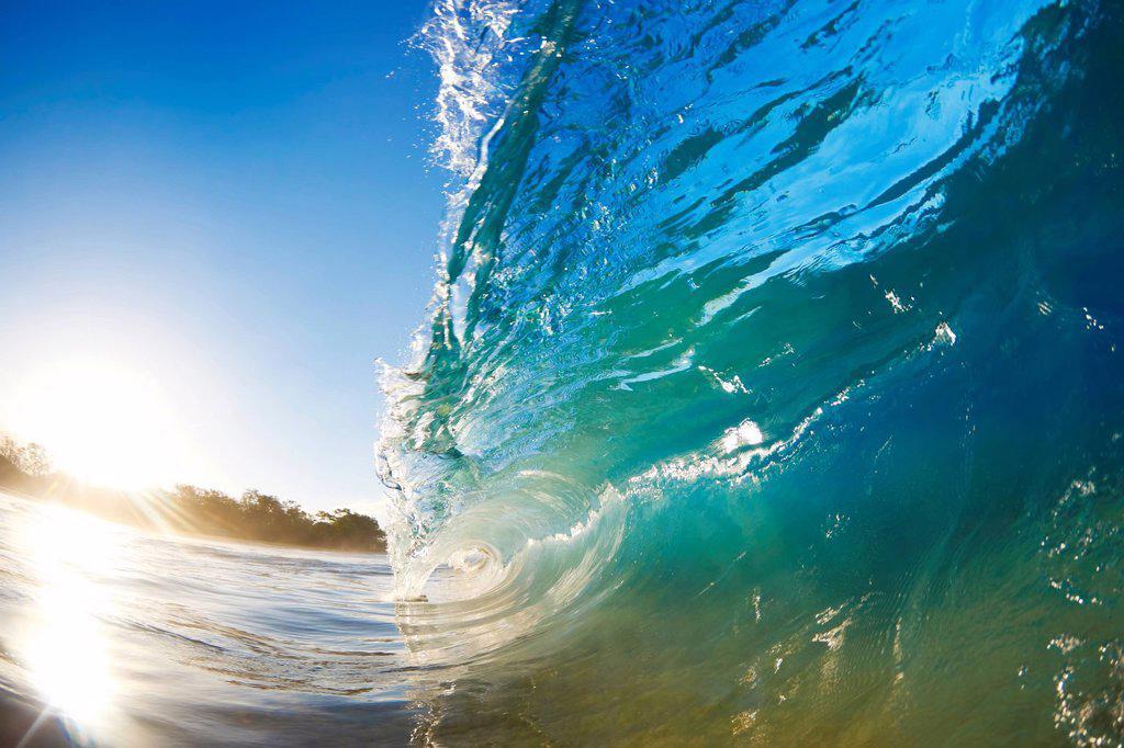 Stock Photo: 1760-15657 Hawaii, Maui, Makena Beach, Beautiful wave breaking along shore.
