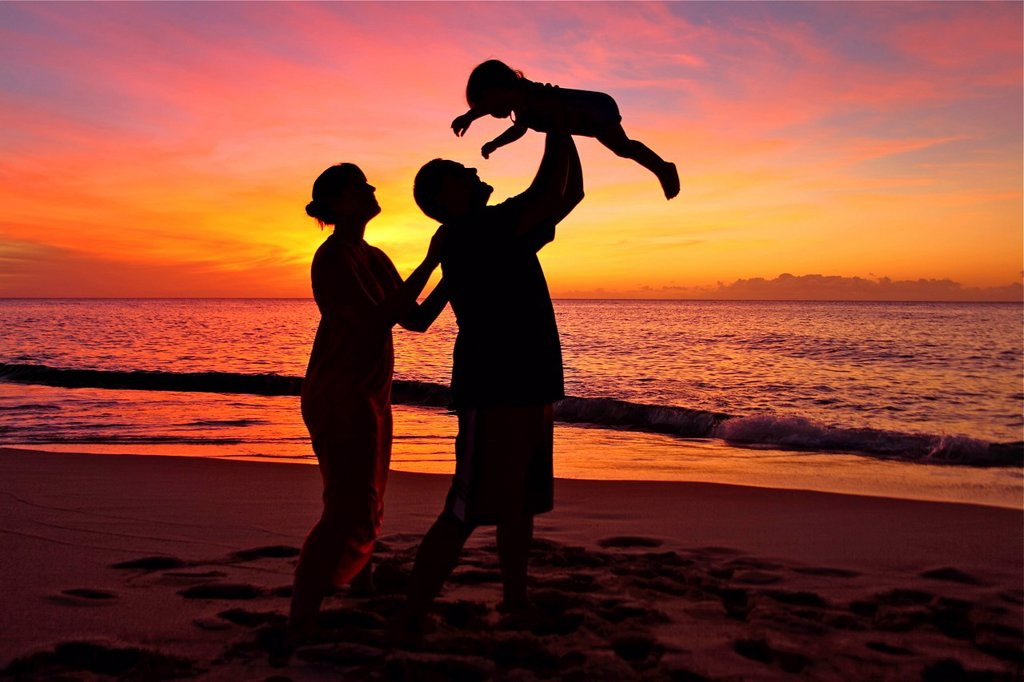 Silhouette of a family on the beach : Stock Photo