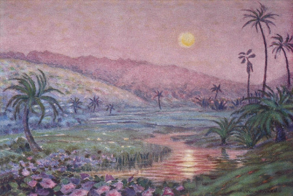 c.1929, Anna Woodward art, HI, early moonrise over lush valley at base of mountain : Stock Photo