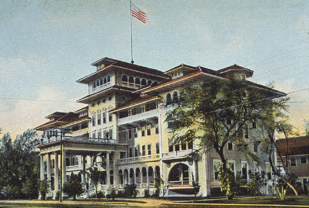 c.1901 Hawaii, Oahu, Honolulu, postcard art, front view of historic Moana Hotel in Waikiki : Stock Photo