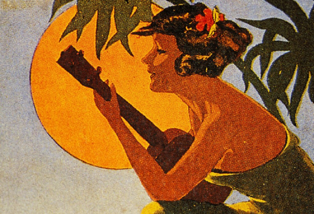 c.1925 Sheet Music, Hawaiian hula girl playing ukulele in front of big sunball : Stock Photo