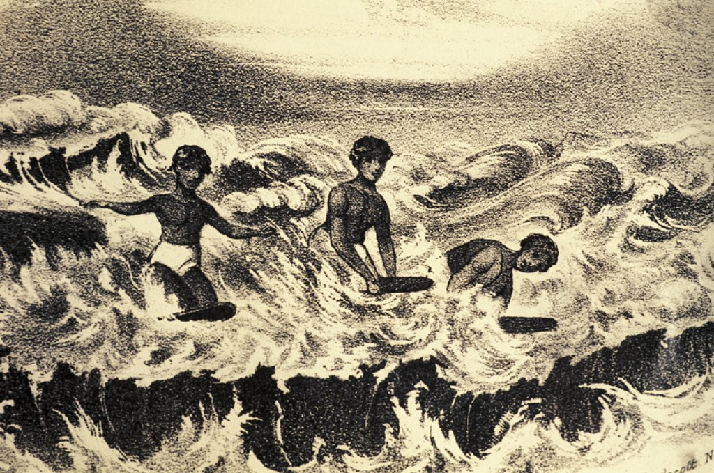 Stock Photo: 1760-16615 c.1840 Art/Book Illustration, Sandwich Islanders playng in the surf, Frances Olmstead
