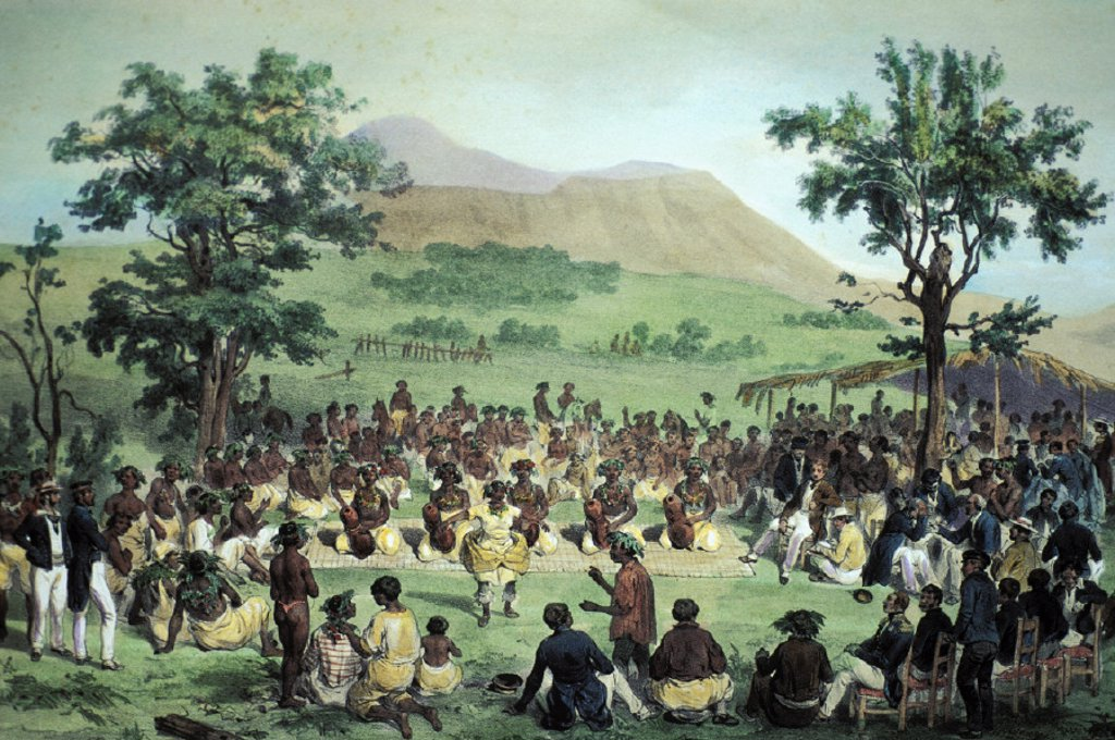 Stock Photo: 1760-16643 c.1840 Art/Book illustration, Natives of the Sandwich Islands gather around dancers