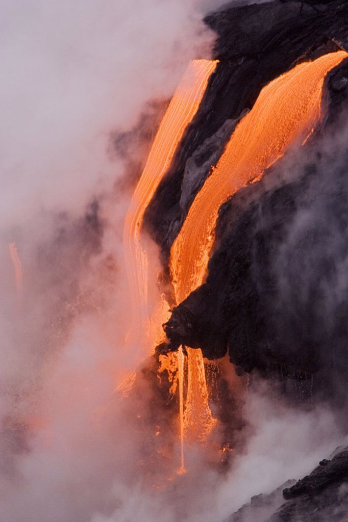 Stock Photo: 1760-19562 Hawaii, Big Island, near Kalapana, Close-up of pahoehoe lava flowing from Kilauea into steaming Pacific Ocean