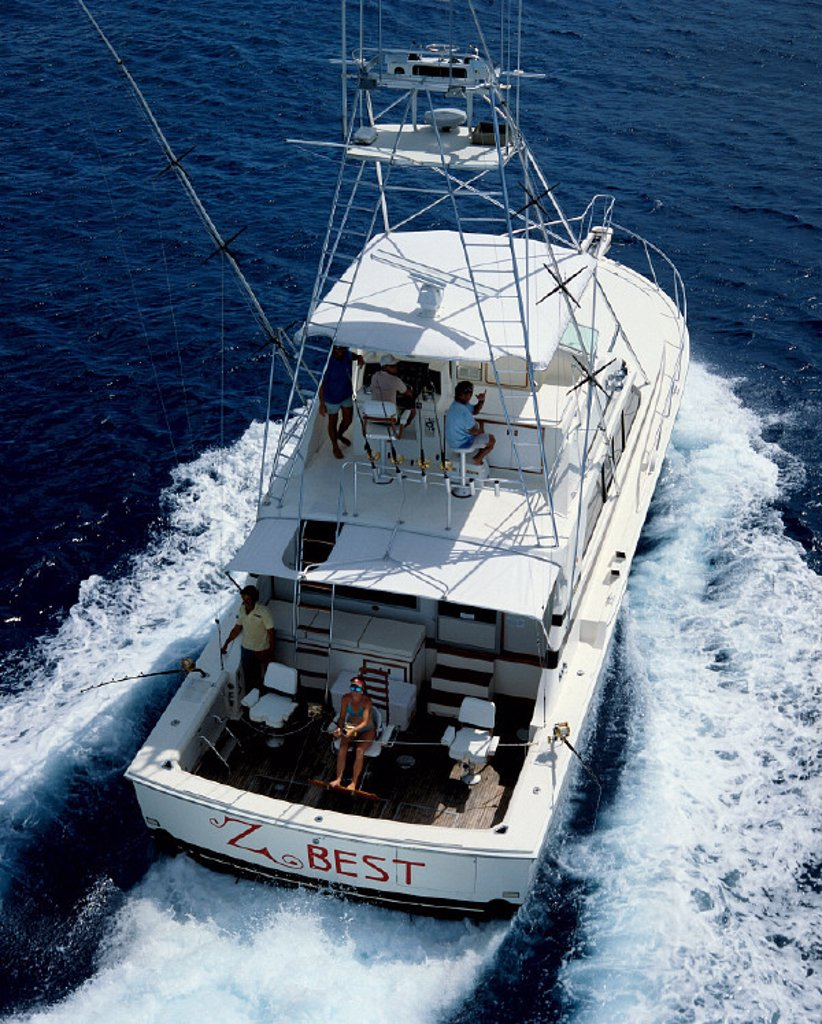 Stock Photo: 1760-2191 Guam, Marianas, Deep sea sport fishing, boat Z-Best view fr above, aerial A14C