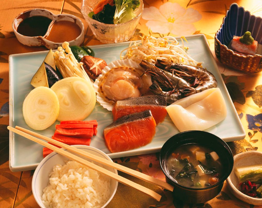 A delicious selection of Japanese food, Raw food for teppinyaki. : Stock Photo