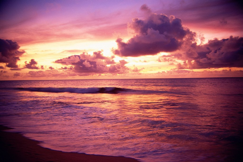 Stock Photo: 1760-2384 Hawaii, Sunset over ocean with tiny wave, tropical scenic reflections A32E