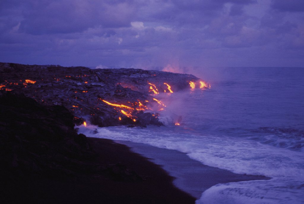 Stock Photo: 1760-2444 Hawaii, Big Island, Hawaii Volcanoes National Park, Lava action meeting sea