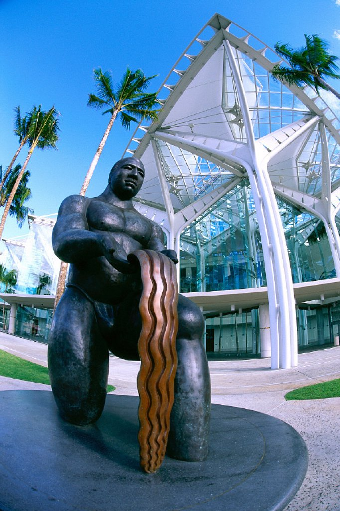 HI, Oahu, closeup detail of gift of water statue at   Hawaii Convention Center : Stock Photo
