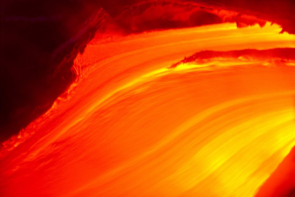 Closeup of glowing lava flow, Volcano, BigIsle, Hawaii B1575 : Stock Photo