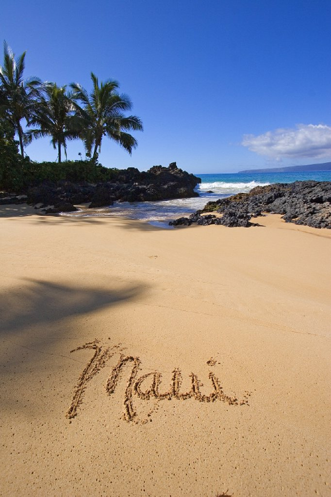 Stock Photo: 1760-24954 Hawaii, Maui, Makena, Secret Beach, the word Maui written in the sand.