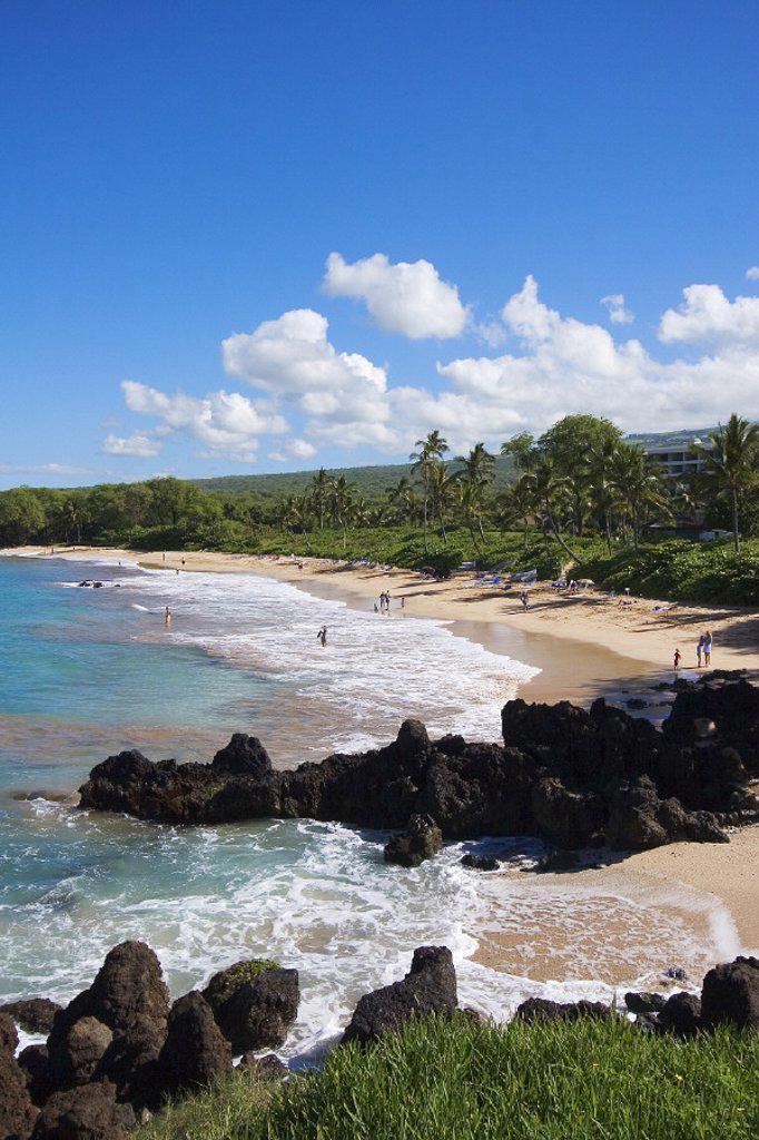 Hawaii, Maui, Makena, Malu´aka Beach, Maui Prince Resort behind. : Stock Photo