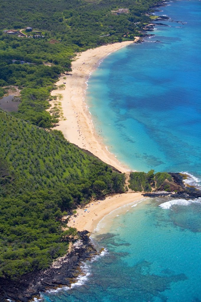 Stock Photo: 1760-24970 Hawaii, Maui, Makena, aerial of Little Beach and Big Beach.