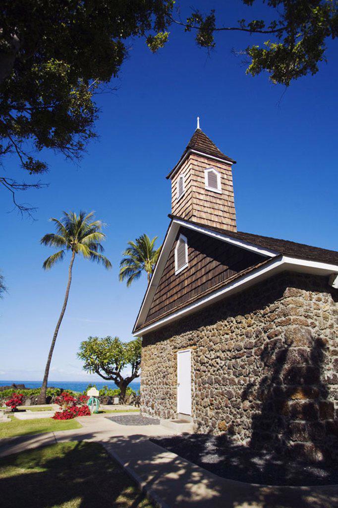 Hawaii, Maui, Makena, Keawala´i Congregational Church, est. 1832 : Stock Photo