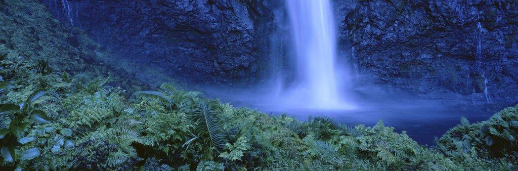 Hawaii, Kauai, Inland waterfall near NaPali coast blue filter, panoramic A20G : Stock Photo