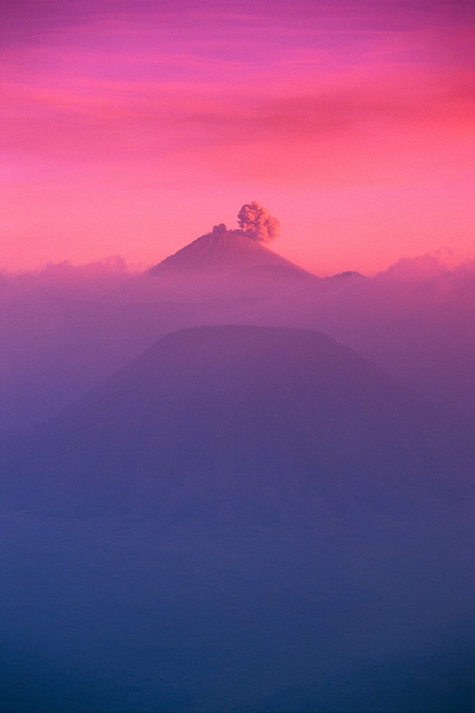 Indonesia, overview of Bromo Tengger Semeru national park at sunset : Stock Photo