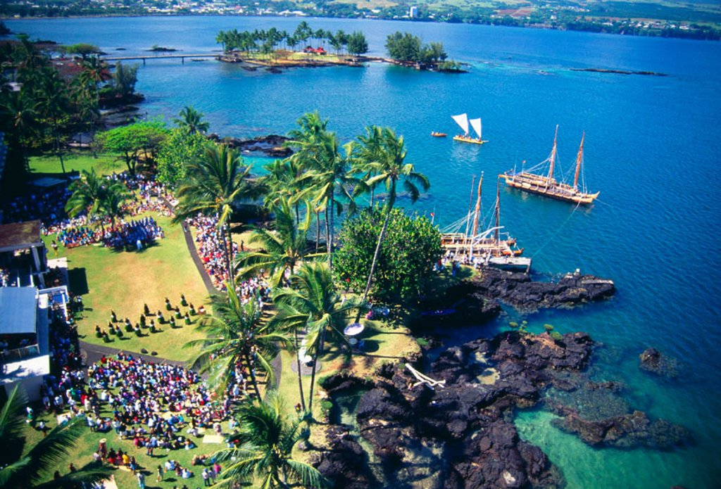 Hawaii, Big Island, Hilo Harbor, Aerial view of pre-sail ceremonies for Hokulea sailing canoe. NO COMMERCIAL USE : Stock Photo