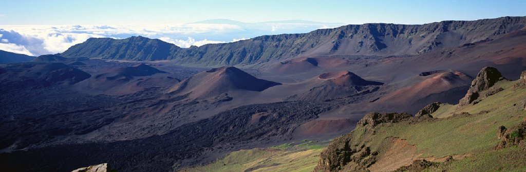 Stock Photo: 1760-3858 Hawaii, Maui, Haleakala National Park, Cinder cones along crater floor A47E panoramic