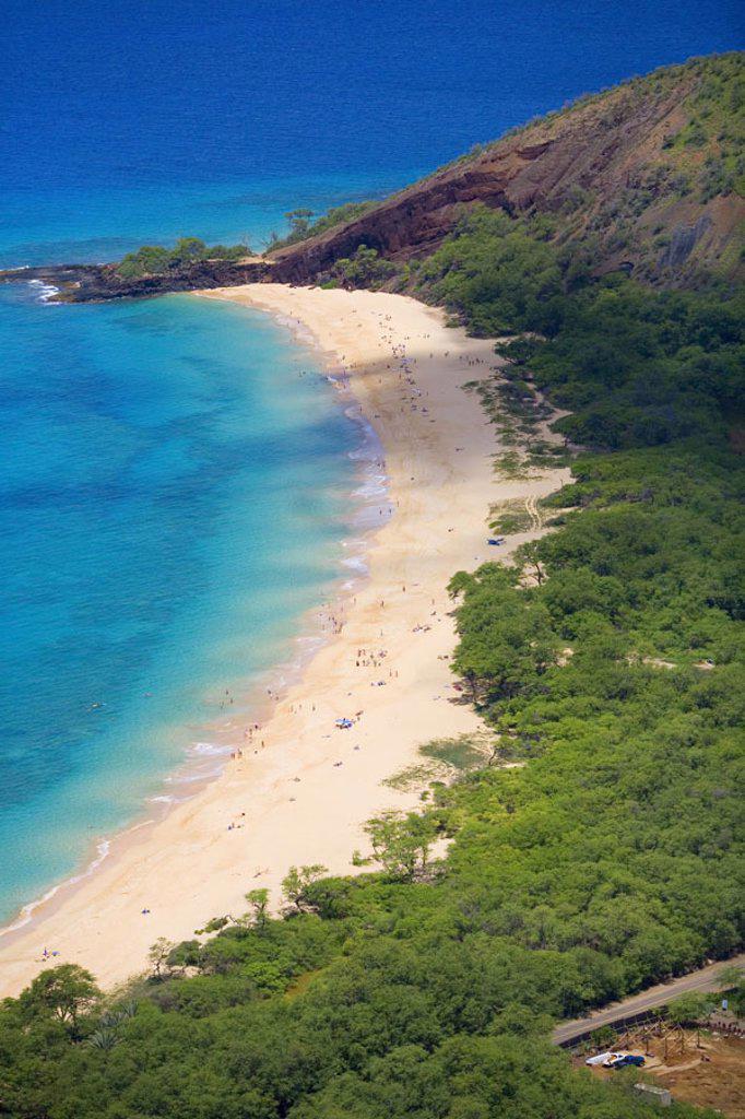 Stock Photo: 1760-3883 Hawaii, Maui, Makena, aerial of Big Beach.