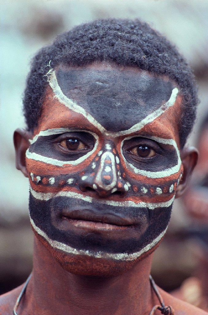 Stock Photo: 1760-5570 Papua New Guinea, painted face of Sepik River man, headshot A66J